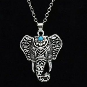 Turquoise tribal boho elephant necklace